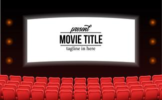 empty red seats at the theater movie advertise mock up template concept vector