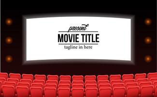assentos vermelhos vazios no filme de teatro anunciar mock up modelo conceito