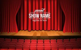 palco com cortina vermelha e assentos vermelhos vazios