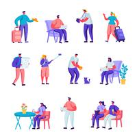 Ensemble de divers jeunes plats avec bagages et cartes de caractères itinérants. Personnages de dessins animés Touristes séjournant la nuit, hébergement pour voyageurs. Illustration vectorielle