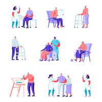 Set of Flat Older People in a Nursing Home Having Medical Aid Characters. Cartoon People Having Hobby Care of Plants, Painting, Playing Chess, Knitting. Vector Illustration.