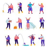 Set of Flat Outdoor Activities Characters. Cartoon People Having Active Leisure on Nature, Chopping Woods, Fishing, Collecting Mushrooms in Forest, Photographing. Vector Illustration.
