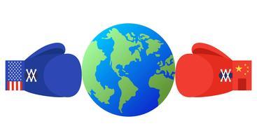 Aarde tussen blauwe en rode bokshandschoenen met de vlag van de Verenigde Staten en van China