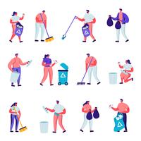 Ein Satz flacher Freiwilliger sammelt Wurfcharaktere. Karikatur-Leute, die harken, fegen, Abfall in Taschen mit aufbereiten Zeichen, Verschmutzung mit Abfall setzen, Abfälle aufräumen. Vektor-Illustration.