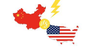 Kaart van Verenigde Staten en China kaart vector