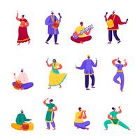 Set of Flat Indian Street Artists Characters. Cartoon People Musicians and Dancers in Colorful Dress Performing on Street Playing Traditional Instruments. Vector Illustration.