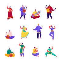 Conjunto de caracteres de artistas de rua indiana plana. Músicos dos povos dos desenhos animados e dançarinos no vestido colorido que executa na rua que joga instrumentos tradicionais. Ilustração vetorial.