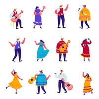 Set of Flat Celebration of a Traditional Mexican Holiday in Colorful Traditional Clothes Characters. Cartoon People Festival Musicians with Guitars, Maracas and Accordion. Vector Illustration.