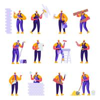 Set van platte professionele bouwvakkers ingenieurs tekens. Cartoon mensen man in uniforme overalls en helmen met apparatuur. Vector illustratie