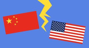 Vlag van China en Vlag van Verenigde Staten
