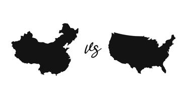 silhouette United states map and China map vector