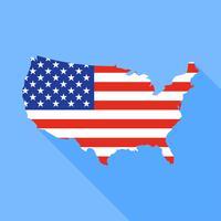 Mappa degli Stati Uniti con l'illustrazione lunga di vettore dell'ombra