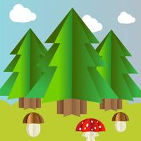 Vector autumn landscape with spruce mushrooms and fly agaric
