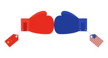 Guantoni da boxe rossi con etichetta bandiera Cina e guantoni da boxe blu con etichetta bandiera Stati Uniti