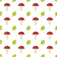 Colorful seamless pattern of mushrooms and leaves cut out of paper