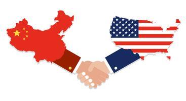 États-Unis carte et la carte de la Chine avec des poignées de main