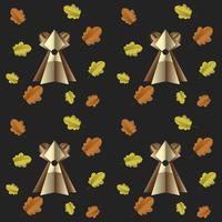 Colorful seamless pattern of brown bear and leaves cut out of paper