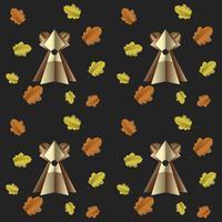 Modèle sans soudure coloré d'ours brun et de feuilles découpées dans du papier