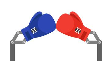 Blue and Red toy boxing gloves arm vector illustration