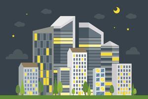 Paesaggio del centro della città, illustrazione moderna di vettore della costruzione