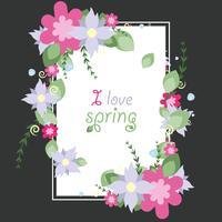 Vector Vignette of spring vector flowers