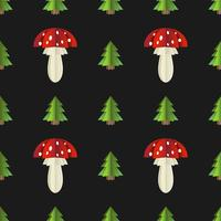 Colorful seamless pattern of mushrooms and fir cut out of paper