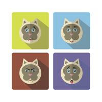 Set of cute cartoon cat with various emotions