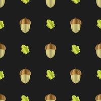 Colorful seamless pattern of acorn and leaves cut out of paper