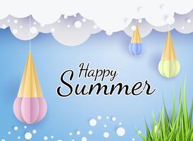 Vector zomer achtergrond 3d papier gesneden met kant, wolken aan de hemel, ijs