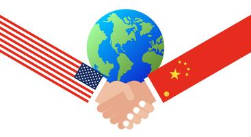 Shaking hands with China flag and United states flag
