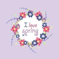 Wreath from spring vector flowers