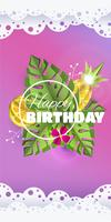 Vector summer background banner 3d paper cut with pineapple. lemon. flower and palm leafs. Flyer banner for birthday greetings