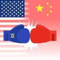Blauwe en rode bokshandschoenen met vlag van Verenigde Staten en China
