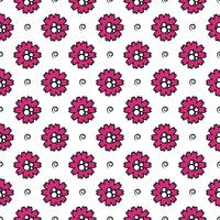 Vector pattern of flowers with strokes and circles