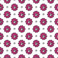 Vektormönster av blommor med linjer och cirklar