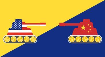 Carro armato dipinto bandiera degli Stati Uniti di fronte al carro armato dipinto bandiera Cina