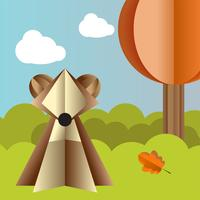 Vector autumn landscape with a bear and falling leaves