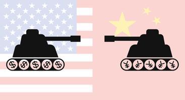 Una siluetta di due carri armati che si fronteggiano con fondo della bandiera della Cina e della bandiera degli Stati Uniti
