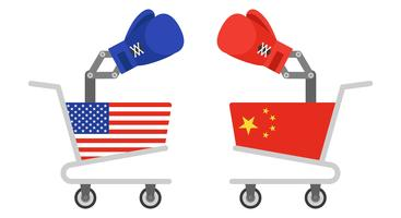 Shopping cart painted USA flag facing with Shopping cart painted China flag
