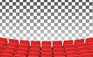 assentos vermelhos vazios no modelo isolado de filme de teatro frontal
