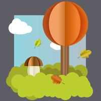 Vector autumn landscape, tree, mushroom leaves.