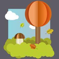 Vector autumn landscape, tree, mushroom leaves.