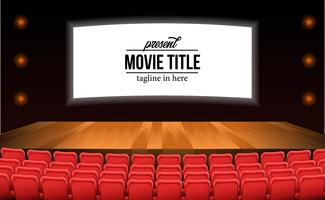 empty red seats at the theater movie with stage wood floor advertise mock up vector