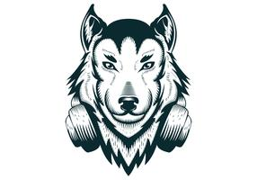 Wolf headphones vector illustration