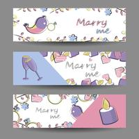 Conjunto de banners con elementos vectoriales. Romance, amor, boda