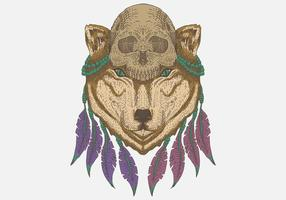 Wolf head skull vector illustration