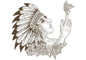 native american girl and butterfly handdrawn