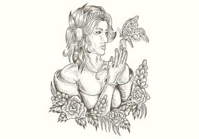 woman and butterfly handdrawn vector illustration