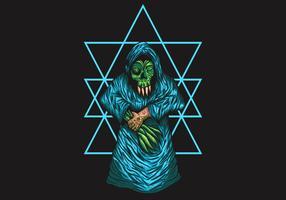 Menschliche Monster-hölzerne Vektorillustration