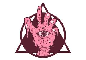 Zombie hand pink vector illustration